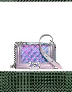 Chanel Purple PVC/Iridescent Patent Boy Water Mini Flap Bag