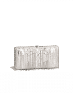 Chanel Silver Embroidered Goatskin Metallic Fringe Evening Bag