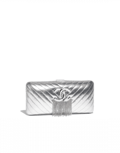 Chanel Silver Lambskin/Chains Metallic Fringe Evening Bag