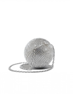 Chanel Silver Strass Minaudiere Bag