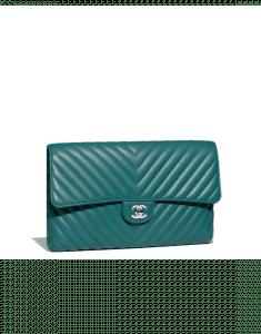 Chanel Turquoise Chevron Classic Clutch Bag