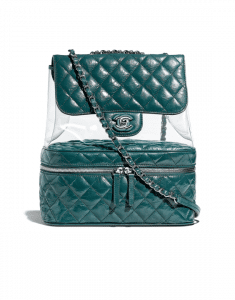 Chanel Turquoise Crumpled Calfskin/PVC Large Flap Bag