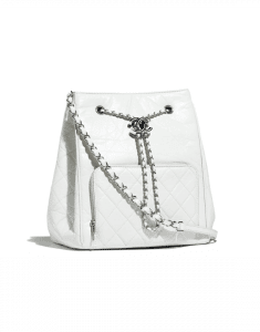 Chanel White Aged Calfskin Drawstring Bag