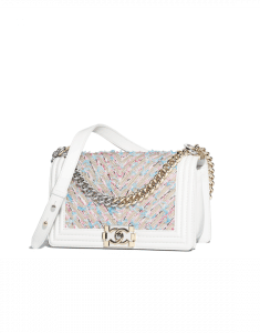 Chanel White Calfskin/Chain/Tweed Boy Chanel Medium Flap Bag