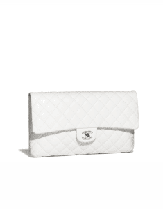 Chanel White Classic Quilted Clutch Bag