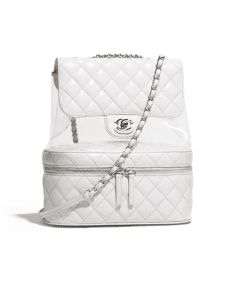 Chanel White Crumpled Calfskin/PVC Large Flap Bag