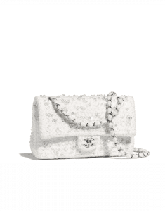Chanel White Embroidered Tweed Medium Flap Bag