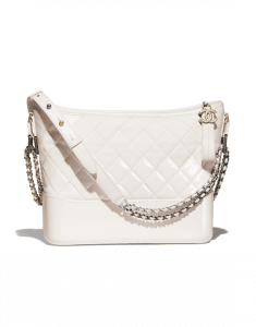 Chanel White Goatskin Gabrielle Hobo Bag
