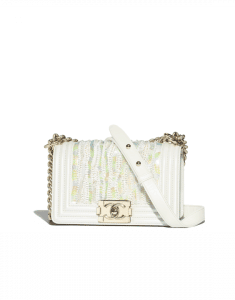 Chanel White Metallic Embroidered Lambskin Boy Chanel Small Flap Bag