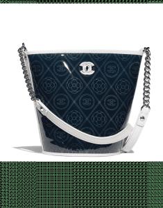 Chanel White Printed PVC Coco Bucket Large Bag