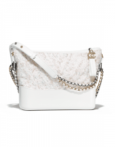 Chanel White Tweed/PVC Gabrielle Hobo Bag