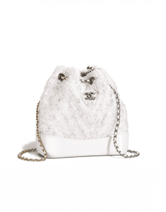 Chanel White Tweed/PVC Gabrielle Small Backpack Bag
