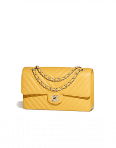 Chanel Yellow Chevron Classic Flap Medium Bag