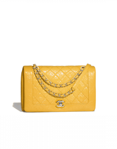 Chanel Yellow Crumpled Calfskin Bi Quilted Flap Bag