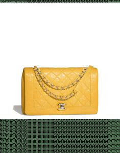 Chanel Yellow Crumpled Calfskin Bi Quilted Flap Bag