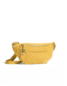 Chanel Yellow Crumpled Calfskin Bi Quilted Waist Bag