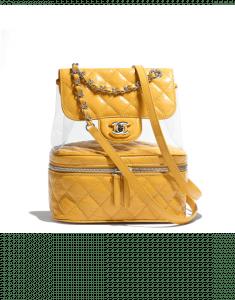 Chanel Yellow Crumpled Calfskin/PVC Aquarium Backpack Medium Bag