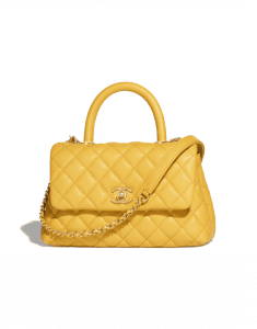 Chanel Yellow Small Coco Handle Bag