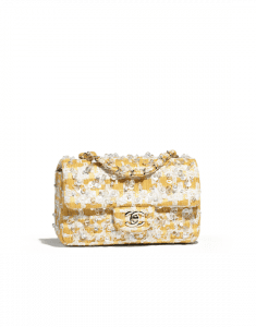 Chanel Yellow/White Embroidered Tweed Mini Flap Bag