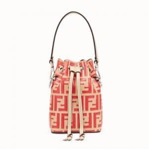 Fendi Beige Logo Mon Tresor Bucket Bag