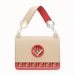 Fendi Beige/Red Logo Kan I F Bag
