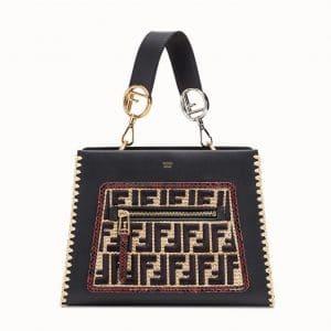 Fendi Black/Red Logo Leather:Raffia Runaway Small Bag