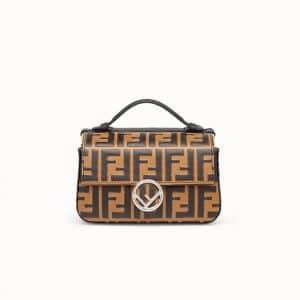 Fendi Brown Logo Double Micro Baguette Bag