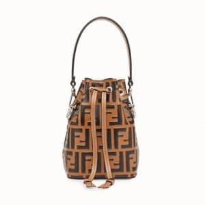 Fendi Brown Logo Mon Tresor Bucket Bag