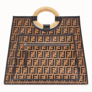 Fendi Brown Logo Runaway Shopper Bag