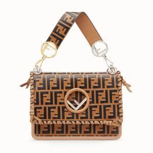 Fendi Brown Logo with Bows Kan I F Bag