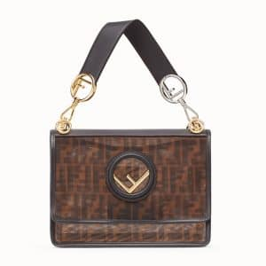 Fendi Brown/Tobacco Logo Leather:Mesh Kan I F Bag