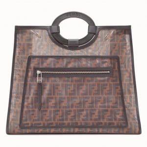 Fendi Brown/Tobacco Logo Leather/Mesh Runaway Shopper Bag