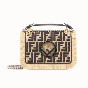 Fendi Natural/Black Logo Raffia/Leather Kan I F Small Bag