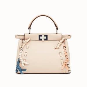 Fendi Pink Leather with Bows Peekaboo Mini Bag