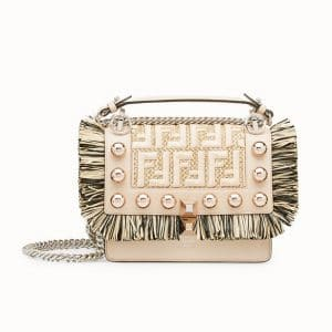 Fendi Pink Logo Fringed Kan I Small Bag