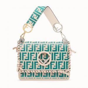 Fendi Pink/Turquoise Logo with Bows Kan I F Bag