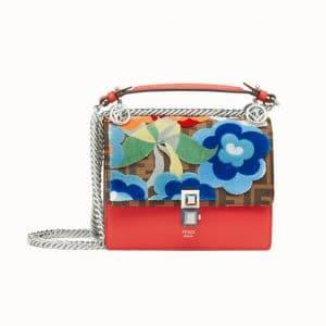 Fendi Red Floral/Logo Kan I Small Bag