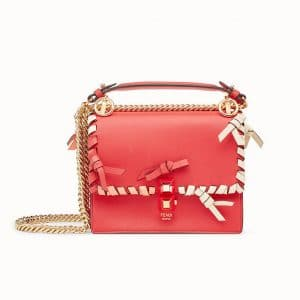 Fendi Red Leather with Bows Kan I Small Bag