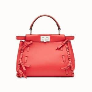 Fendi Red Leather with Bows Peekaboo Mini Bag