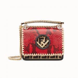 Fendi Red Logo Python Kan I F Small Bag