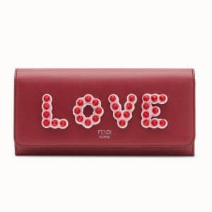Fendi Red Love Embellished Continental Wallet with Chain