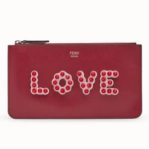 Fendi Red Love Embellished Flat Pouch
