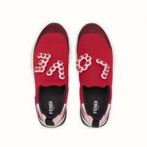 Fendi Red Love Embellished Sneakers