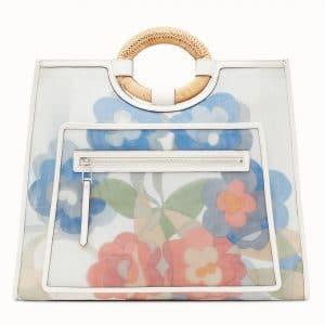 Fendi White Floral Leather:Mesh Runaway Shopper Bag