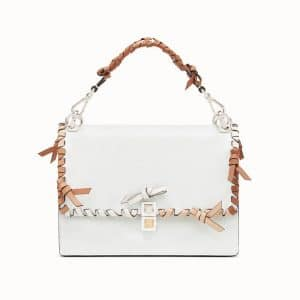 Fendi White Leather with Bows Kan I Bag