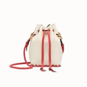 Fendi White Leather with Bows Mon Tresor Bucket Bag