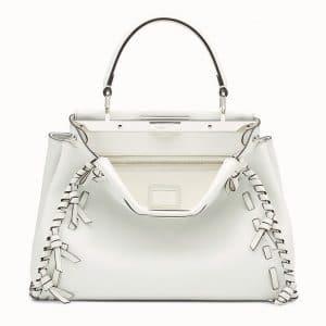 Fendi White Leather with Bows Peekaboo Bag
