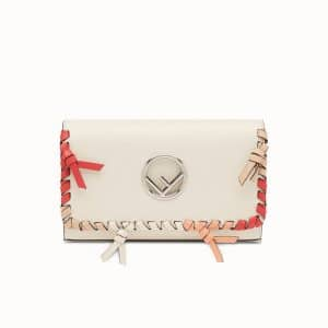 Fendi White Leather with Bows Wallet On Chain Bag