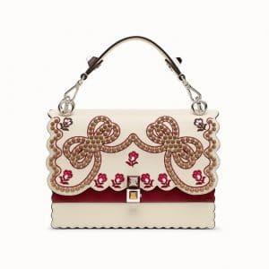 Fendi White/Deep Red Embroidered Kan I Bag