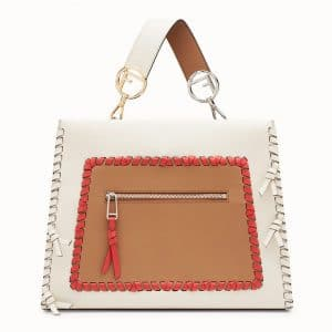Fendi White/Red Leather with Bows Runaway Regular Bag